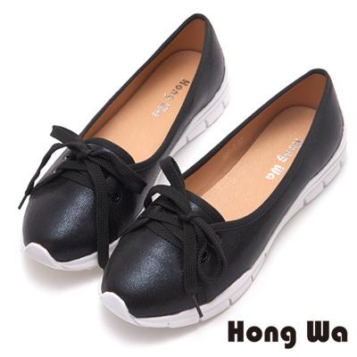 Hong Wa 自在優遊金屬舒適休閒鞋-黑