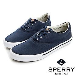 SPERRY Striper 潮流進化吸震減壓帆布休閒鞋(男)-海軍藍