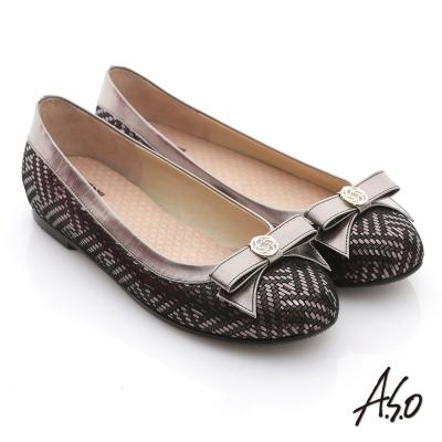 A.S.O 奢華美型 真皮金屬圖騰結飾平底鞋 黑