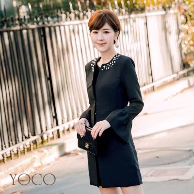 東京著衣-yoco安琪聯名法式復古珍珠領飾修身外套-XS.S.M.L(共一色)