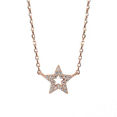 ASTRID&MIYU英國潮流品牌  五角星水鑽玫瑰金項鍊