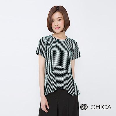 CHICA 美好日記荷葉下襬剪裁條紋上衣(2色)