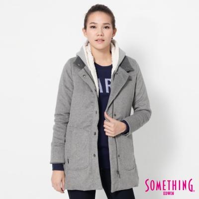 SOMETHING 兩件式毛呢西裝外套-女-麻灰色