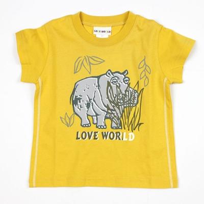 愛的世界 純棉圓領河馬印圖短袖T恤/3~4歲