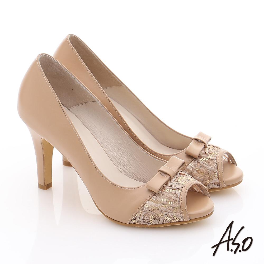 A.S.O 法式浪漫 真皮蕾絲蝴蝶綴飾高跟魚口鞋 卡其