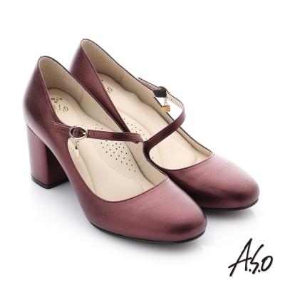 A.S.O 個性美型 水鑽環扣真皮質感高跟鞋 暗紅色