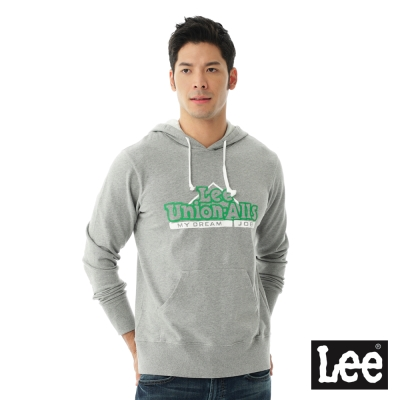 Lee 連帽厚T 配色文字印刷-男款-麻花灰
