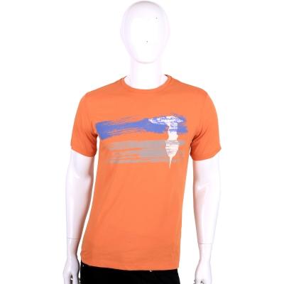 TRUSSARDI-JEANS 橘色刷漆圖印棉質短袖T恤