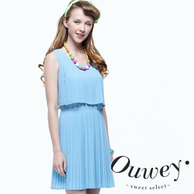OUWEY歐薇 假兩件式壓摺雪紡背心洋裝