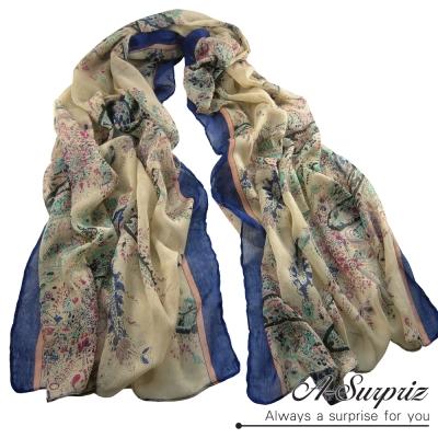 A-Surpriz-中國風藝術圖畫巴黎紗圍巾-高雅藍