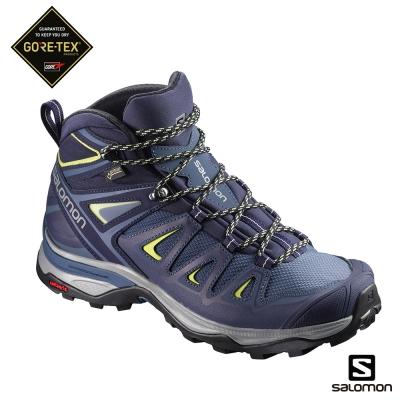Salomon 登山鞋 中筒 GORETEX 防水 女 X ULTRA 3 藍