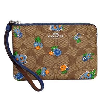 COACH卡其C-Logo水藍花繪拉鍊萬用手拿包