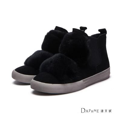 達芙妮DAPHNE-短靴-雙條兔毛麂皮平底靴-黑8H