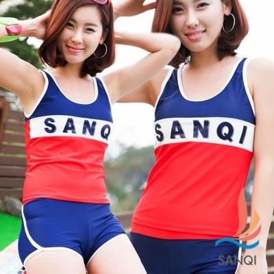 SANQI三奇 朝陽元氣 兩件式泳裝 比基尼泳衣(藍M~XL)