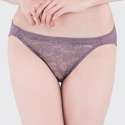 思薇爾 微醺心戀系列M-XL蕾絲低腰三角內褲(水銀紫)
