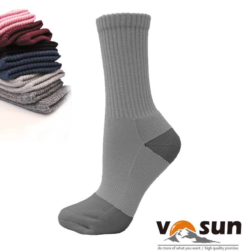 【台灣 VOSUN】 MIT 頂級控溫保暖中筒美麗諾羊毛襪_淺灰