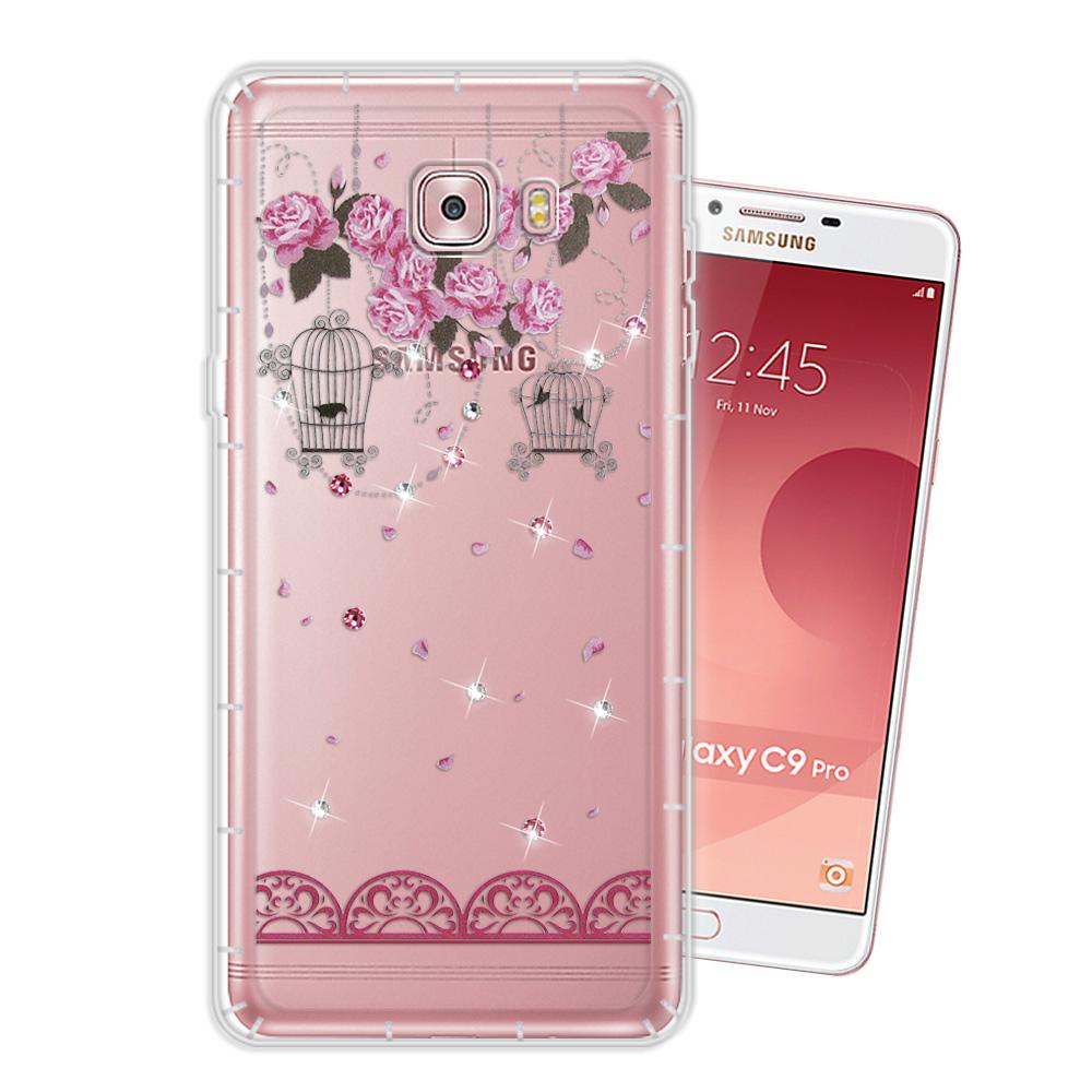 WT Samsung Galaxy C9 Pro 奧地利水晶彩繪空壓手機殼(璀璨蕾絲)