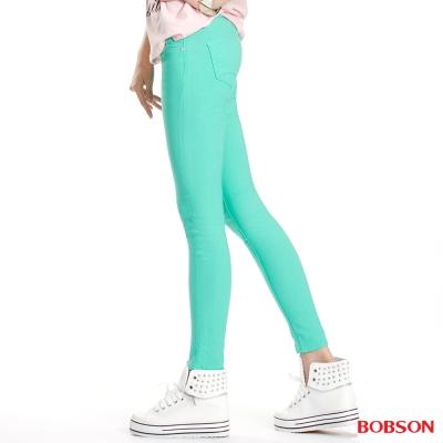 BOBSON 女款彩色強彈力緊身褲(果綠40)