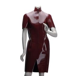 BALENCIAGA 走秀款立領特殊剪裁優雅短袖外套(暗紅-36)