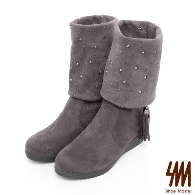 SM-台灣晶鑽-流蘇水鑽麂皮中低楔型跟軟筒兩用長靴-深灰