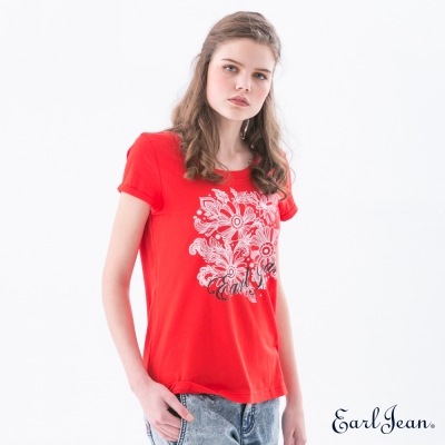 Earl Jean 花卉LOGO T恤-紅-女