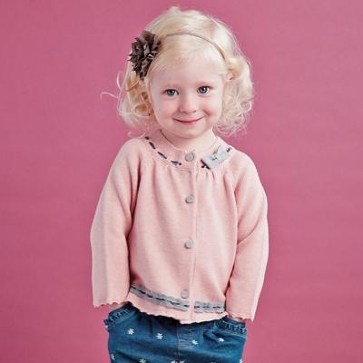 Dave Bella 蝴蝶結蕾絲花邊粉色針織外套