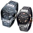 Armani 亞曼尼 Classic 無盡的愛陶瓷對錶-黑x玫瑰金色/43mm