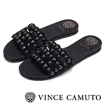 Vince Camuto 高雅素色圓撞釘平底拖鞋-黑色