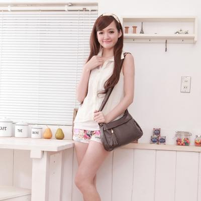 Dennibella 丹妮貝拉 - 日本薰衣草系列 -可愛甜美牛皮斜背流蘇包-紫褐色