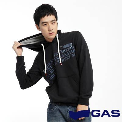 GAS-簡約淡定-字母印花街頭風潮素面附帽長袖厚T-深藍-男款