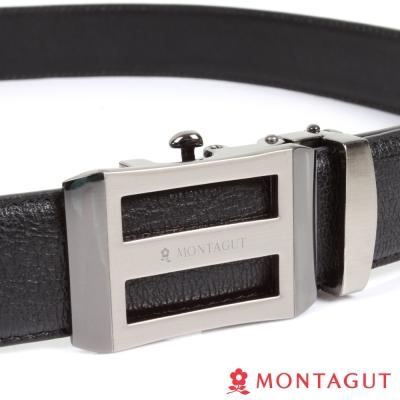 MONTAGUT夢特嬌-經典方框上下簍空Logo款-二層牛皮自動扣皮帶-757