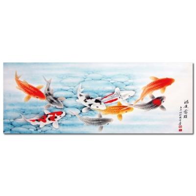 24mama掛畫 - 單聯創意無框藝術掛畫 - 冰水鯉魚 30x80cm