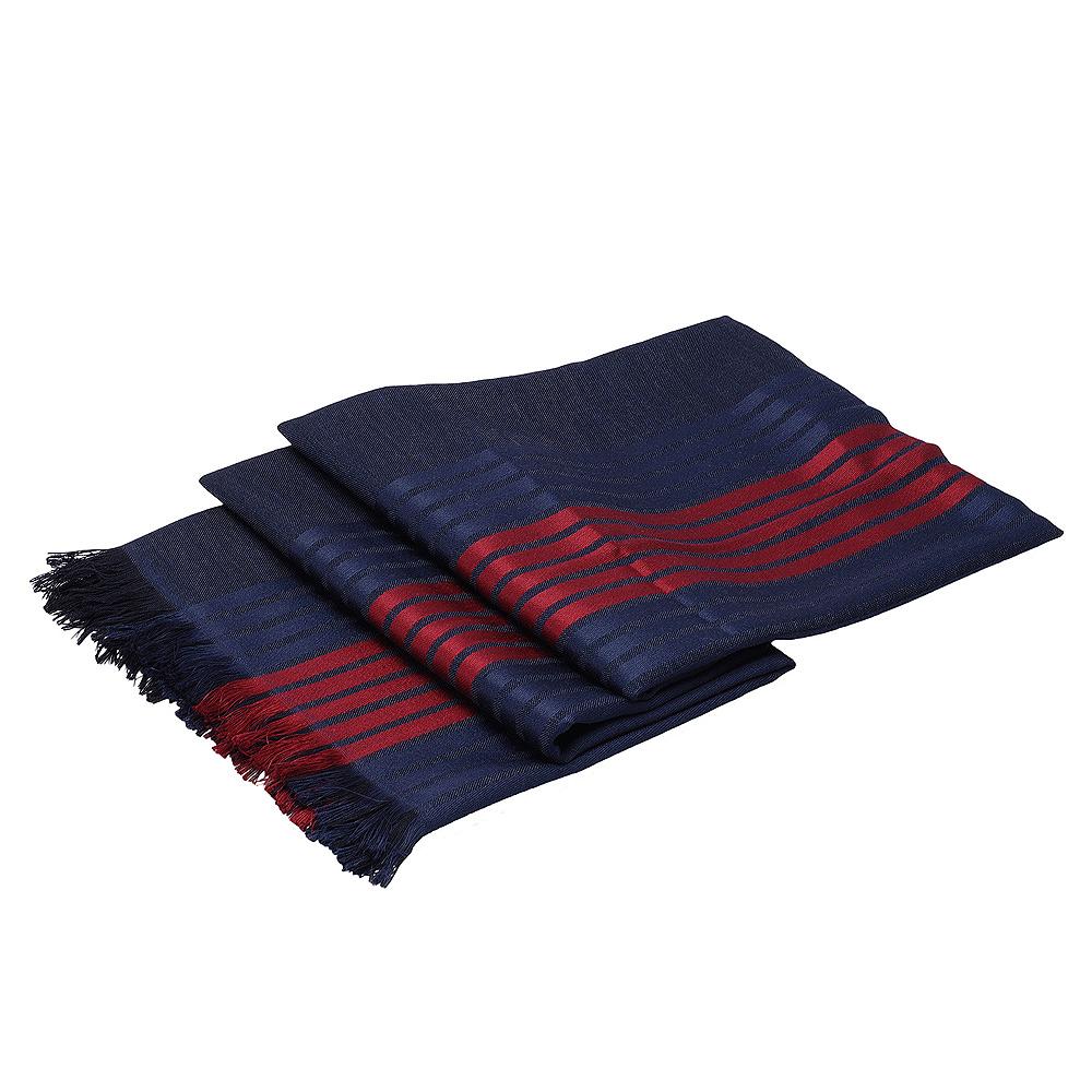GUCCI 經典藍紅藍織帶圖紋緹花真絲羊毛圍巾(藍X紅)