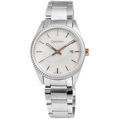 cK Alliance 經久不衰貝殼面不鏽鋼腕錶-貝殼面/30mm
