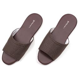 仿皮拖鞋系列簡約知性皮室內拖鞋-米色兩雙