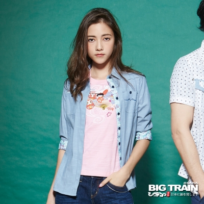 BIG TRAIN 女款素色配印花七分袖襯衫-女-淺藍