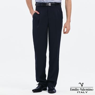 Emilio Valentino 范倫提諾吸濕排汗打摺西褲-藍