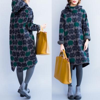 中大尺碼滿版貓咪頭加絨加厚套頭連帽厚棉長版洋裝XL~3L-Ballet Dolly
