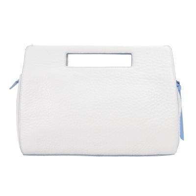 COACH 皮革荔枝紋手提包(白藍)