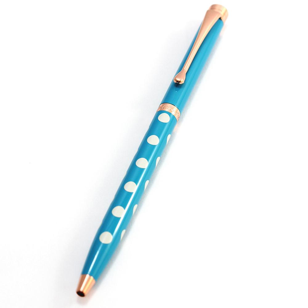 MITIQUE美締克 Oriental 東方美系列 寶湖藍小圓點玫瑰金夾原子筆