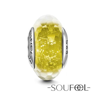 SOUFEEL索菲爾 925純銀珠飾 黃色冰晶 琉璃珠
