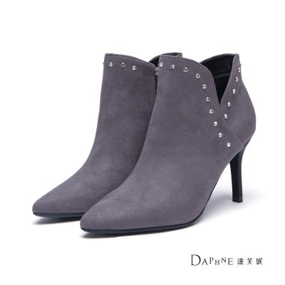 達芙妮DAPHNE-短靴-水鑽綴邊絨布高跟踝靴-灰