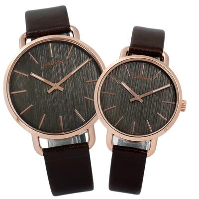 CK-EVEN-沉靜雅緻岩紋皮革對錶-灰x玫瑰金框