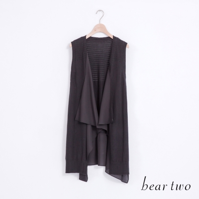 beartwo-垂墜感剪裁異材質拼接針織背心-黑色