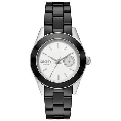DKNY 永恆時尚都會陶瓷腕錶-白x黑陶瓷/36mm