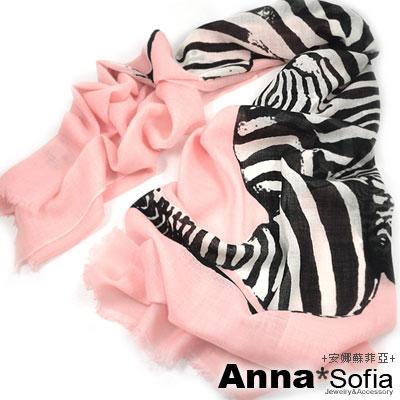 AnnaSofia 交錯大斑馬 薄款純羊毛圍巾(粉系)