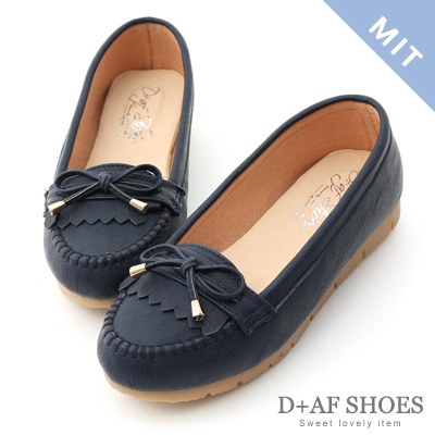 D+AF 自在漫步.MIT流蘇造型樂福健走鞋*藍
