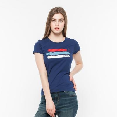 Hang Ten - 女裝 - 有機棉 趣遊美國條紋印圖T恤 - 藍