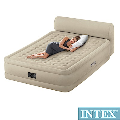 INTEX超厚絨豪華雙人加大充氣床-附床頭片(內建幫浦)fiber-tech(64459)