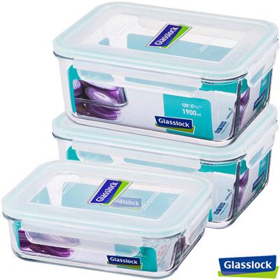 Glasslock強化玻璃微波保鮮盒 - 大容量保鮮3件組